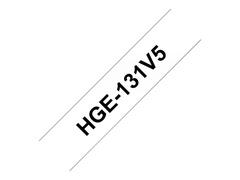 Brother HGE131V5 - Laminiertes Band - schwarz auf durchsichtig