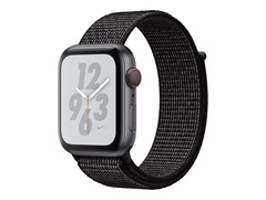 "Apple Watch Nike+ Series 4 (GPS + Cellular) - 44 mm - Weltraum grau Aluminium - intelligente Uhr mit Nike Sportschleife - gewebtes Nylon - schwarz - Bandgröße 145-220 mm - Anzeige 4.5 cm (1.78"")"
