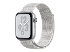 "Apple Watch Nike+ Series 4 (GPS + Cellular) - 44 mm - Aluminium, Silber - intelligente Uhr mit Nike Sportschleife - gewebtes Nylon - summit white - Bandgröße 145-220 mm - Anzeige 4.5 cm (1.78"")"