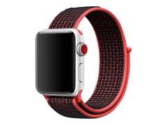 Apple 38mm Nike Sport Loop - Uhrarmband - 130-190 mm - Schwarz, Bright Crimson - für Watch (38 mm)