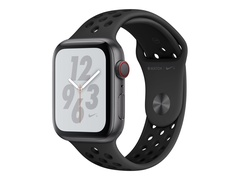 "Apple Watch Nike+ Series 4 (GPS + Cellular) - 44 mm - Weltraum grau Aluminium - intelligente Uhr mit Nike Sportband - Flouroelastomer - anthrazit/schwarz - Bandgröße 140-210 mm - Anzeige 4.5 cm (1.78"")"