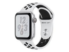 """Apple Watch Nike+ Series 4 (GPS) - 40 mm - Aluminium, Silber - intelligente Uhr mit Nike Sportband - Flouroelastomer - pures Platin/schwarz - Bandgröße 130-200 mm - Anzeige 4 cm (1.57"""")"""