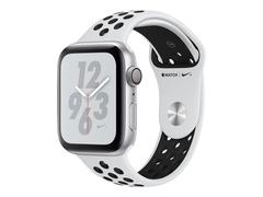 """Apple Watch Nike+ Series 4 (GPS) - 44 mm - Aluminium, Silber - intelligente Uhr mit Nike Sportband - Flouroelastomer - pures Platin/schwarz - Bandgröße 140-210 mm - Anzeige 4.5 cm (1.78"""")"""