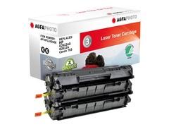 AgfaPhoto 2er-Pack - Schwarz - Tonerpatrone (Alternative zu: HP 12A, HP Q2612A, Canon 703, HP Q2612AD)