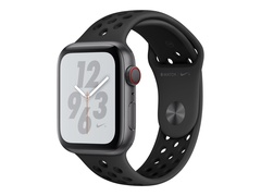 "Apple Watch Nike+ Series 4 (GPS + Cellular) - 40 mm - Weltraum grau Aluminium - intelligente Uhr mit Nike Sportband - Flouroelastomer - anthrazit/schwarz - Bandgröße 130-200 mm - Anzeige 4 cm (1.57"")"