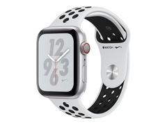 """Apple Watch Nike+ Series 4 (GPS + Cellular) - 44 mm - Aluminium, Silber - intelligente Uhr mit Nike Sportband - Flouroelastomer - pures Platin/schwarz - Bandgröße 140-210 mm - Anzeige 4.5 cm (1.78"""")"""