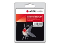 AgfaPhoto 11 ml - Schwarz - wiederaufbereitet - Tintenpatrone (Alternative zu: Canon CLI-551BK XL, Canon 6443B001)