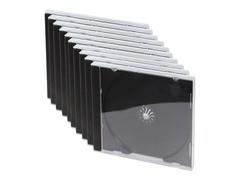 LogiLink Behälter CD-Aufbewahrung - Kapazität: 1 CD/DVD - Schwarz, durchsichtig (Packung mit 10)