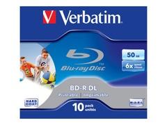 Verbatim 10 x BD-R DL - 50 GB 6x - mit Tintenstrahldrucker bedruckbare Oberfläche - Jewel Case (Schachtel)