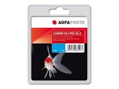 AgfaPhoto 11 ml - Cyan - wiederaufbereitet - Tintenpatrone (Alternative zu: Canon CLI-551C XL, Canon 6444B001)
