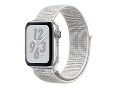 """Apple Watch Nike+ Series 4 (GPS) - 40 mm - Aluminium, Silber - intelligente Uhr mit Nike Sportschleife - gewebtes Nylon - summit white - Bandgröße 130-190 mm - Anzeige 4 cm (1.57"""")"""