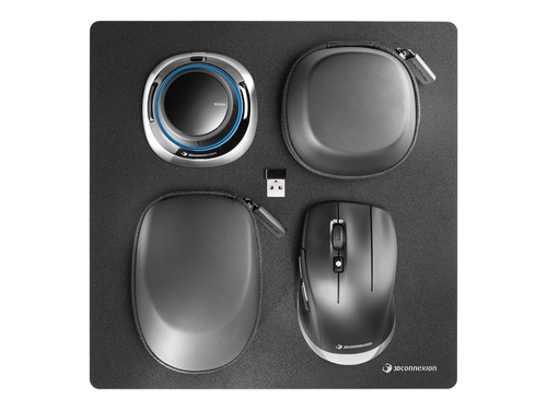 3Dconnexion SpaceMouse Wireless Kit - 3D-Maus - 2 Tasten - kabellos, kabelgebunden - 2.4 GHz - kabelloser Empfänger (USB)